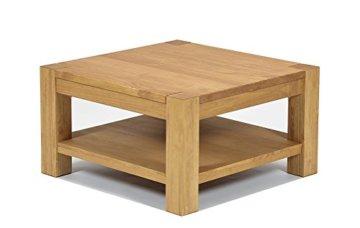 Naturholzmöbel Seidel Couchtisch Beistelltisch mit Ablage,Rio Bonito, 80x80cm Höhe 50 cm, Pinie Massivholz, geölt und gewachst, Wohnzimmer Tisch Farbton Honig hell - 1