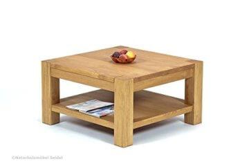 Naturholzmöbel Seidel Couchtisch Beistelltisch mit Ablage,Rio Bonito, 80x80cm Höhe 50 cm, Pinie Massivholz, geölt und gewachst, Wohnzimmer Tisch Farbton Honig hell - 6