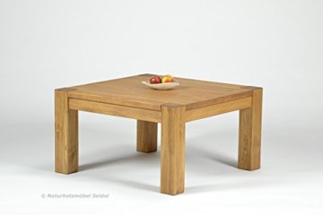 Naturholzmöbel Seidel Couchtisch,Rio Bonito, 80x80cm Höhe 50 cm, Pinie Massivholz, geölt und gewachst, Wohnzimmer Tisch Farbton Honig hell - 8