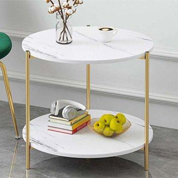 PAMPOO Couchtisch Kleiner Tisch Marmor Textur Couchtisch aus Holz Sofa Beistelltisch quadratischen Tisch für Wohnzimmer Büro geeignet (Weiß, Runde) - 2