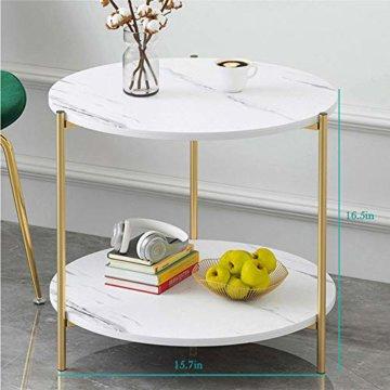 PAMPOO Couchtisch Kleiner Tisch Marmor Textur Couchtisch aus Holz Sofa Beistelltisch quadratischen Tisch für Wohnzimmer Büro geeignet (Weiß, Runde) - 3