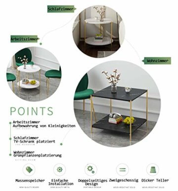 PAMPOO Couchtisch Kleiner Tisch Marmor Textur Couchtisch aus Holz Sofa Beistelltisch quadratischen Tisch für Wohnzimmer Büro geeignet (Weiß, Runde) - 4