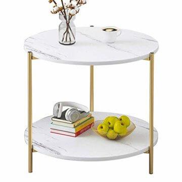 PAMPOO Couchtisch Kleiner Tisch Marmor Textur Couchtisch aus Holz Sofa Beistelltisch quadratischen Tisch für Wohnzimmer Büro geeignet (Weiß, Runde) - 1