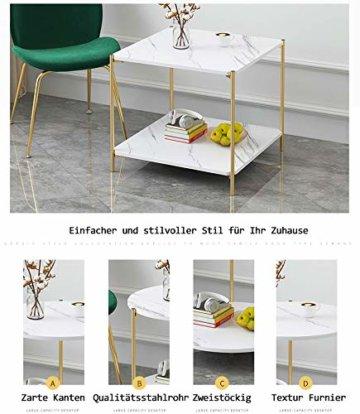 PAMPOO Couchtisch Kleiner Tisch Marmor Textur Couchtisch aus Holz Sofa Beistelltisch quadratischen Tisch für Wohnzimmer Büro geeignet (Weiß, Runde) - 5