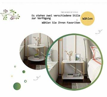 PAMPOO Couchtisch Kleiner Tisch Marmor Textur Couchtisch aus Holz Sofa Beistelltisch quadratischen Tisch für Wohnzimmer Büro geeignet (Weiß, Runde) - 7