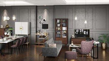PLAYBOY Stauraum Couchtisch mit 2 Ablagen, Nussbaumdekor, Marmoroptik, gold matt lackiertes Metallgestell, Wohnzimmertisch mit Ablage, Marmortisch, Retro-Design, Club-Stil für Wohnzimmer & Lounge - 5