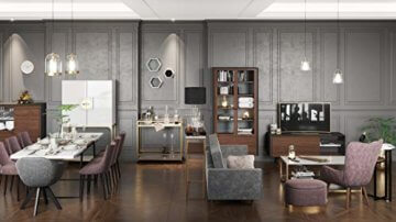 PLAYBOY Stauraum Couchtisch mit 2 Ablagen, Nussbaumdekor, Marmoroptik, gold matt lackiertes Metallgestell, Wohnzimmertisch mit Ablage, Marmortisch, Retro-Design, Club-Stil für Wohnzimmer & Lounge - 6