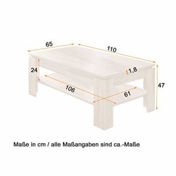 trendteam smart living Wohnzimmer Couchtisch Wohnzimmertisch Universal, 110 x 47 x 65 cm in Pinie Weiß Struktur Nachbildung Absetzung Touchwood mit zusätzlicher Ablagefläche - 2