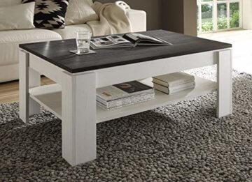 trendteam smart living Wohnzimmer Couchtisch Wohnzimmertisch Universal, 110 x 47 x 65 cm in Pinie Weiß Struktur Nachbildung Absetzung Touchwood mit zusätzlicher Ablagefläche - 3