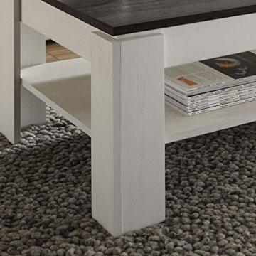 trendteam smart living Wohnzimmer Couchtisch Wohnzimmertisch Universal, 110 x 47 x 65 cm in Pinie Weiß Struktur Nachbildung Absetzung Touchwood mit zusätzlicher Ablagefläche - 4