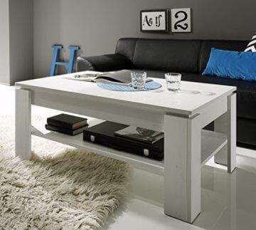 trendteam smart living Wohnzimmer Couchtisch Wohnzimmertisch Universal, 110 x 47 x 65 cm in Pinie Weiß Struktur Nachbildung mit zusätzlicher Ablagefläche - 3