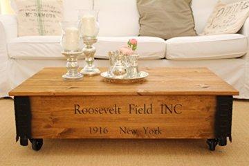 Uncle Joe´s Couchtisch Roosevelt Truhentisch Truhe im Vintage Shabby chic Style aus Massiv-Holz in braun mit Stauraum und Deckel Holzkiste Beistelltisch Landhaus Wohnzimmertisch Holztisch nussbaum - 1