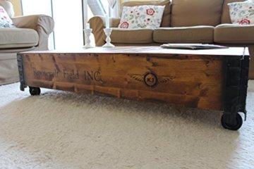 Uncle Joe´s Couchtisch Truhe Holzkiste Beistelltisch Vintage Shabby chic Landhaus Massivholz nussbaum - 1
