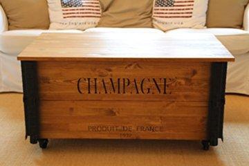 Uncle Joe´s Couchtisch XL Champagne Truhentisch Truhe im Vintage Shabby chic Style aus Massiv-Holz in braun mit Stauraum und Deckel Holzkiste Beistelltisch Landhaus Wohnzimmertisch Holztisch nussbaum - 1