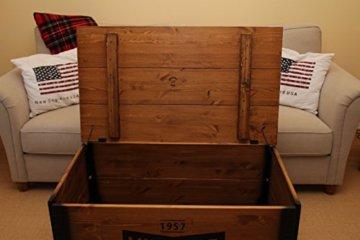 Uncle Joe´s Couchtisch XL Vintage Truhentisch Truhe im Vintage Shabby chic Style aus Massiv-Holz in braun mit Stauraum und Deckel Holzkiste Beistelltisch Landhaus Wohnzimmertisch Holztisch nussbaum - 6