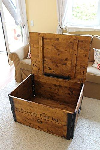 Uncle Joe´s Holzkiste Truhe Couchtisch Beistelltisch Vintage Shabby chic Landhaus Massivholz nussbaum - 4