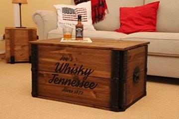 Uncle Joe´s Truhe Whisky Couchtisch Truhentisch im Vintage Shabby chic Style aus Massiv-Holz in braun mit Stauraum und Deckel Holzkiste Beistelltisch Landhaus Wohnzimmertisch Holztisch nussbaum - 3