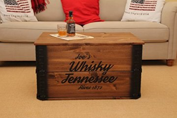 Uncle Joe´s Truhe Whisky Couchtisch Truhentisch im Vintage Shabby chic Style aus Massiv-Holz in braun mit Stauraum und Deckel Holzkiste Beistelltisch Landhaus Wohnzimmertisch Holztisch nussbaum - 5
