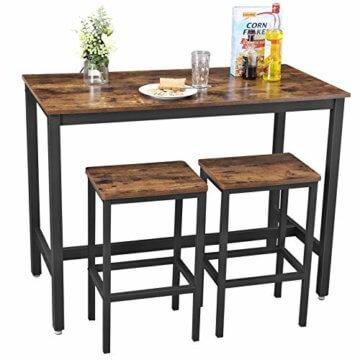VASAGLE Bartisch-Set, Stehtisch mit 2 Barhockern, Küchentresen mit Barstühlen, Küchentisch und Küchenstühle im Industrie-Design, für Küche, 120 x 60 x 90 cm, Vintage, dunkelbraun LBT15X - 2