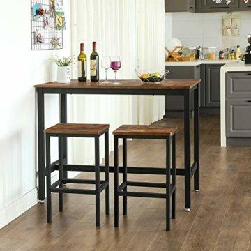 VASAGLE Bartisch-Set, Stehtisch mit 2 Barhockern, Küchentresen mit Barstühlen, Küchentisch und Küchenstühle im Industrie-Design, für Küche, 120 x 60 x 90 cm, Vintage, dunkelbraun LBT15X - 3