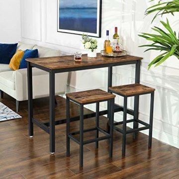 VASAGLE Bartisch-Set, Stehtisch mit 2 Barhockern, Küchentresen mit Barstühlen, Küchentisch und Küchenstühle im Industrie-Design, für Küche, 120 x 60 x 90 cm, Vintage, dunkelbraun LBT15X - 4
