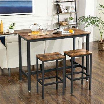 VASAGLE Bartisch-Set, Stehtisch mit 2 Barhockern, Küchentresen mit Barstühlen, Küchentisch und Küchenstühle im Industrie-Design, für Küche, 120 x 60 x 90 cm, Vintage, dunkelbraun LBT15X - 5