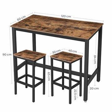 VASAGLE Bartisch-Set, Stehtisch mit 2 Barhockern, Küchentresen mit Barstühlen, Küchentisch und Küchenstühle im Industrie-Design, für Küche, 120 x 60 x 90 cm, Vintage, dunkelbraun LBT15X - 6