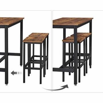 VASAGLE Bartisch-Set, Stehtisch mit 2 Barhockern, Küchentresen mit Barstühlen, Küchentisch und Küchenstühle im Industrie-Design, für Küche, 120 x 60 x 90 cm, Vintage, dunkelbraun LBT15X - 7