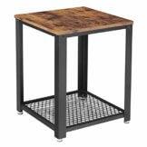 VASAGLE Beistelltisch im Industrie-Design, Nachttisch, Sofatisch mit Gitterablage, stabil, mit Metallgestell, Wohnzimmer, Schlafzimmer, einfach zu montieren, Used Look, Holzoptik Vintage LET41X - 1