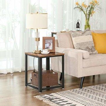 VASAGLE Beistelltisch im Industrie-Design, Nachttisch, Sofatisch mit Gitterablage, stabil, mit Metallgestell, Wohnzimmer, Schlafzimmer, einfach zu montieren, Used Look, Holzoptik Vintage LET41X - 3