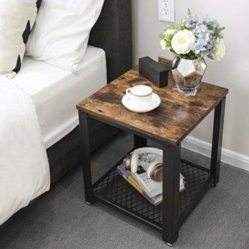 VASAGLE Beistelltisch im Industrie-Design, Nachttisch, Sofatisch mit Gitterablage, stabil, mit Metallgestell, Wohnzimmer, Schlafzimmer, einfach zu montieren, Used Look, Holzoptik Vintage LET41X - 4