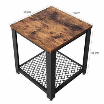 VASAGLE Beistelltisch im Industrie-Design, Nachttisch, Sofatisch mit Gitterablage, stabil, mit Metallgestell, Wohnzimmer, Schlafzimmer, einfach zu montieren, Used Look, Holzoptik Vintage LET41X - 5