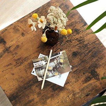 VASAGLE Beistelltisch im Industrie-Design, Nachttisch, Sofatisch mit Gitterablage, stabil, mit Metallgestell, Wohnzimmer, Schlafzimmer, einfach zu montieren, Used Look, Holzoptik Vintage LET41X - 6