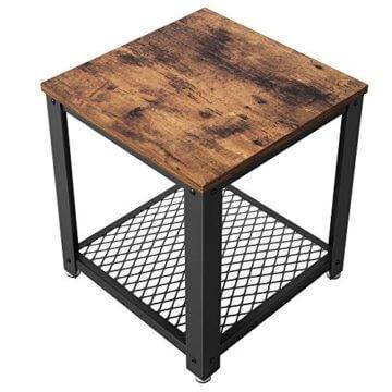 VASAGLE Beistelltisch im Industrie-Design, Nachttisch, Sofatisch mit Gitterablage, stabil, mit Metallgestell, Wohnzimmer, Schlafzimmer, einfach zu montieren, Used Look, Holzoptik Vintage LET41X - 8
