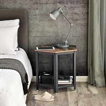 VASAGLE Beistelltisch im Industrie-Design, Sofatisch mit großem Stauraum, fürs Wohnzimmer und Büro, stabil, mit Metallgestell und Gitterablage, hexagonal, Vintage LET26X - 3