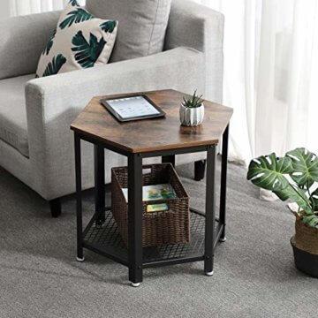 VASAGLE Beistelltisch im Industrie-Design, Sofatisch mit großem Stauraum, fürs Wohnzimmer und Büro, stabil, mit Metallgestell und Gitterablage, hexagonal, Vintage LET26X - 4