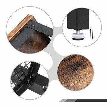 VASAGLE Beistelltisch im Industrie-Design, Sofatisch mit großem Stauraum, fürs Wohnzimmer und Büro, stabil, mit Metallgestell und Gitterablage, hexagonal, Vintage LET26X - 5