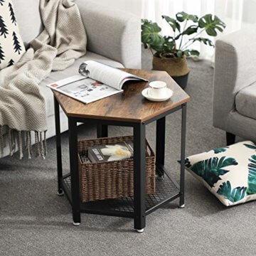 VASAGLE Beistelltisch im Industrie-Design, Sofatisch mit großem Stauraum, fürs Wohnzimmer und Büro, stabil, mit Metallgestell und Gitterablage, hexagonal, Vintage LET26X - 7
