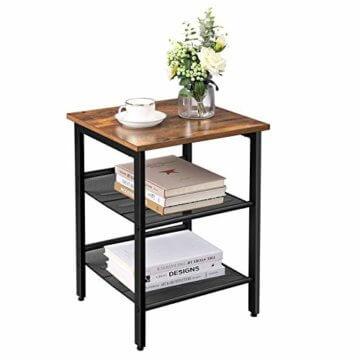 VASAGLE Beistelltisch, Nachttisch mit 2 verstellbaren Gitterablagen, Couchtisch im Industrie-Design, für Wohnzimmer, Schlafzimmer, Flur, Büro, stabil, einfacher Aufbau, Vintage, dunkelbraun LET23X - 2