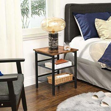 VASAGLE Beistelltisch, Nachttisch mit 2 verstellbaren Gitterablagen, Couchtisch im Industrie-Design, für Wohnzimmer, Schlafzimmer, Flur, Büro, stabil, einfacher Aufbau, Vintage, dunkelbraun LET23X - 3
