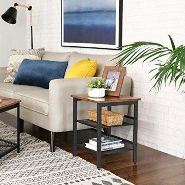 VASAGLE Beistelltisch, Nachttisch mit 2 verstellbaren Gitterablagen, Couchtisch im Industrie-Design, für Wohnzimmer, Schlafzimmer, Flur, Büro, stabil, einfacher Aufbau, Vintage, dunkelbraun LET23X - 4