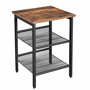 VASAGLE Beistelltisch, Nachttisch mit 2 verstellbaren Gitterablagen, Couchtisch im Industrie-Design, für Wohnzimmer, Schlafzimmer, Flur, Büro, stabil, einfacher Aufbau, Vintage, dunkelbraun LET23X - 1