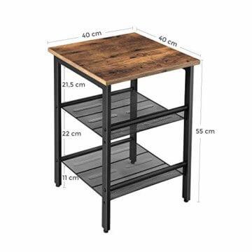 VASAGLE Beistelltisch, Nachttisch mit 2 verstellbaren Gitterablagen, Couchtisch im Industrie-Design, für Wohnzimmer, Schlafzimmer, Flur, Büro, stabil, einfacher Aufbau, Vintage, dunkelbraun LET23X - 5
