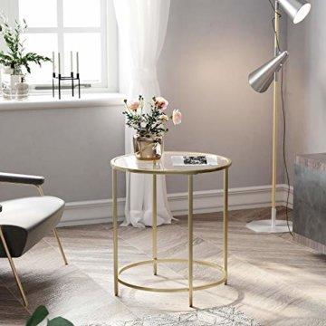 VASAGLE Beistelltisch rund, Glastisch mit goldenem Metallgestell, kleiner Couchtisch, Nachttisch, Sofatisch, Balkon, robustes Hartglas, stabil, dekorativ, Gold LGT20G - 2