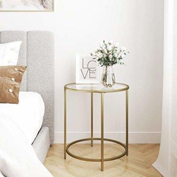 VASAGLE Beistelltisch rund, Glastisch mit goldenem Metallgestell, kleiner Couchtisch, Nachttisch, Sofatisch, Balkon, robustes Hartglas, stabil, dekorativ, Gold LGT20G - 3