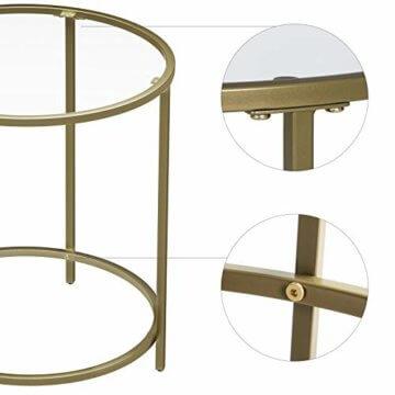 VASAGLE Beistelltisch rund, Glastisch mit goldenem Metallgestell, kleiner Couchtisch, Nachttisch, Sofatisch, Balkon, robustes Hartglas, stabil, dekorativ, Gold LGT20G - 4