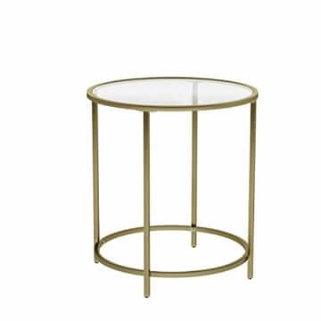 VASAGLE Beistelltisch rund, Glastisch mit goldenem Metallgestell, kleiner Couchtisch, Nachttisch, Sofatisch, Balkon, robustes Hartglas, stabil, dekorativ, Gold LGT20G - 1