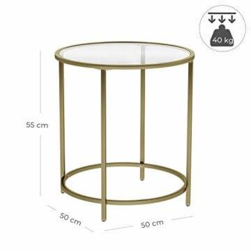 VASAGLE Beistelltisch rund, Glastisch mit goldenem Metallgestell, kleiner Couchtisch, Nachttisch, Sofatisch, Balkon, robustes Hartglas, stabil, dekorativ, Gold LGT20G - 6