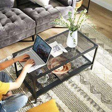 VASAGLE Couchtisch mit Tischplatte aus Glas, Wohnzimmertisch mit Eisen-Gestell, Glastisch, Sofatisch Ablage mit Blumenverzierung, Robustes Hartglas, SGS getestet, stabil, dekorativ, schwarz LGT11BK - 2