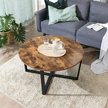 VASAGLE Couchtisch rund, Wohnzimmertisch, Sofatisch, Kaffeetisch, stabiles Eisengestell, einfacher Aufbau, Industrie-Design, Vintage, dunkelbraun LCT88X - 3